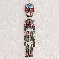 Wood wall ornament, 'Colorful Tradition in Black' (15 in.) - Wood Floral Skeleton Wall Ornament in Black (15 in.)