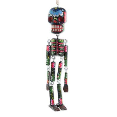 Wood wall ornament, 'Colorful Tradition in Black' (15 inch) - Wood Floral Skeleton Wall Ornament in Black (15 in.)