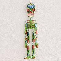 Wood wall ornament, 'Colorful Tradition in Green' (15 in.) - Wood Floral Skeleton Wall Ornament in Green (15 in.)
