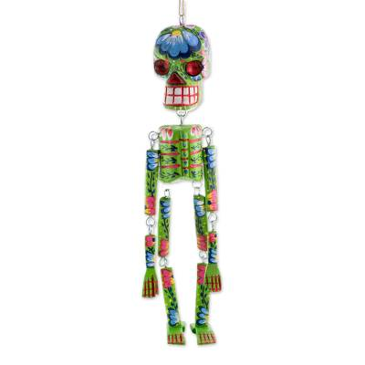 Wood wall ornament, 'Colorful Tradition in Green' (15 inch) - Wood Floral Skeleton Wall Ornament in Green (15 in.)