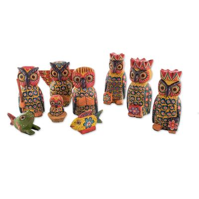 Wood nativity scene, 'Sacred Owls' (set of 9) - Owl-Themed Wood Nativity Scene from Guatemala (Set of 9)