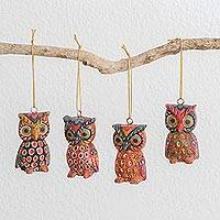Wood ornaments, 'Charming Owls' (set of 4)
