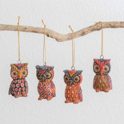 Wood ornaments, 'Charming Owls' (set of 4) - Pinewood Owl Ornaments from Guatemala (Set of 4)