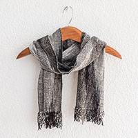 Rayon chenille scarf, 'Infinite Universe' - Handwoven Grey Rayon Chenille Scarf from Guatemala