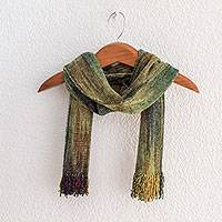 Rayon chenille scarf, 'Profound Green' - Handwoven Green Rayon Chenille Scarf from Guatemala