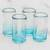 Recycled glass shot glasses, 'Glistening Sea' (set of 4) - Recycled Glass Shot Glasses in Blue (Set of 4) (image 2b) thumbail