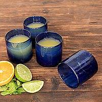 Recycled glass juice glasses, 'Profound Blue' (set of 4) - Recycled Glass Juice Glasses in Blue (Set of 4)
