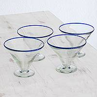 Recycled glass martini glasses, 'Ocean Rim' (set of 4) - Recycled Glass Martini Glasses from Guatemala (Set of 4)