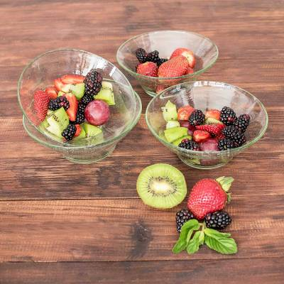 Recycled glass dessert bowls, 'Sweet Moments' (set of 4) - Recycled Glass Clear Dessert Bowls from Guatemala (Set of 4)