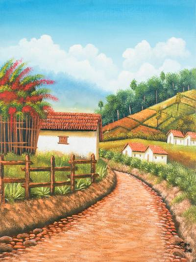 'Zunil' - Signed Folk Art Landscape Painting from Guatemala