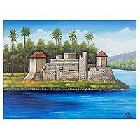 'Castle of San Felipe de Lara' - Signed Folk Art Painting of a Guatemalan Ruin