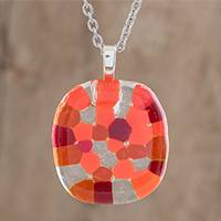 Glass pendant necklace, 'Sweet Shapes in Orange' - Handmade Glass Pendant Necklace in Orange from Costa Rica