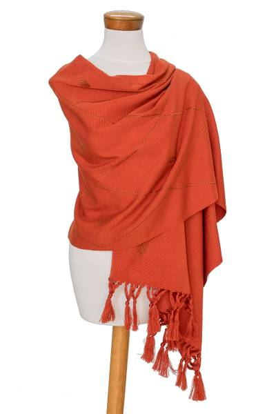Cotton blend shawl, 'Paprika' - Handwoven Red-Orange Cotton Blend Shawl with Knotted Fringe