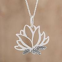 Sterling silver pendant necklace, 'Lotus Fascination' - Sterling Silver Lotus Flower Pendant Necklace from Guatemala