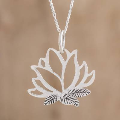 Sterling Silver Lotus Flower Pendant Necklace From Guatemala Lotus