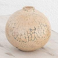 Ceramic decorative vase, 'Lenca Wellspring' - Ivory and Grey Handcrafted Decorative Ceramic Round Vase
