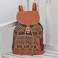 Cotton backpack, 'Vibrant Life' - Handwoven Earth-Tone Cotton Backpack from Guatemala