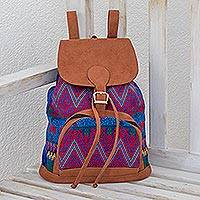 Cotton backpack, 'Vibrant Fields' - Handwoven Multicolored Cotton Backpack from Guatemala