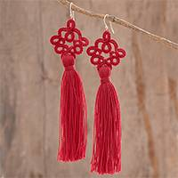 Hand-tatted dangle earrings, 'Antique Details in Red' - Hand-Tatted Red Dangle Earrings from Guatemala