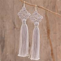 Hand-tatted dangle earrings, 'Antique Details in Grey' - Hand-Tatted Grey Dangle Earrings from Guatemala