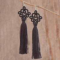 Hand-tatted dangle earrings, 'Antique Details in Black' - Hand-Tatted Black Dangle Earrings from Guatemala