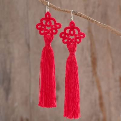 Hand-tatted dangle earrings, 'Antique Details in Poppy' - Hand-Tatted Poppy Dangle Earrings from Guatemala