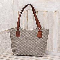 Leather accent cotton tote, 'Nocturnal Diamonds' - Leather Accent Cotton Tote in Black and White from Guatemala