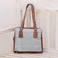 Leather accent cotton shoulder bag, 'Diamond Fashion' - Leather Accent Cotton Shoulder Bag from Guatemala