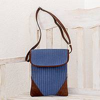Leather accent cotton sling, 'Blue Brilliance' - Striped Leather Accent Cotton Sling in Blue from Guatemala