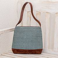 Leather accent cotton shoulder bag, 'Mint Diamonds' - Leather Accent Cotton Shoulder Bag in Black and Mint