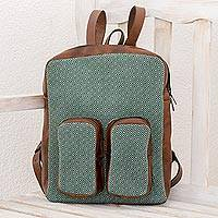Leather accent cotton backpack, 'Mint Diamonds' - Leather Accent Cotton Backpack in Mint from Guatemala