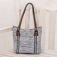 Leather accent cotton tote, 'Chevron Silhouettes' - Black and White Leather Accent Cotton Tote from guatemala