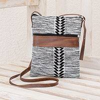 Leather accent cotton sling, 'Chevron Heather' - Black and White Leather Accent Cotton Sling from Guatemala