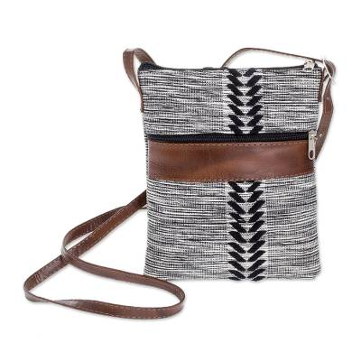 Black and White Leather Accent Cotton Sling from Guatemala