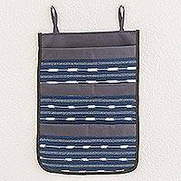 Cotton blend toiletry organizer, 'Indigo Simplicity' - Cotton Blend Toiletry Organizer in Indigo from Guatemala
