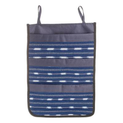 Cotton Blend Hanging Organizer in Indigo from Guatemala
