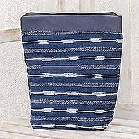Cotton blend travel bag, 'Indigo Simplicity' - Cotton Blend Travel Bag in Indigo from Guatemala
