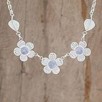 Jade pendant necklace, 'Jade Flowers' - Floral Lilac Jade Pendant Necklace from Guatemala