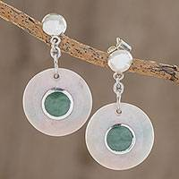 Jade dangle earrings, 'Mayan Cosmos in Lilac' - Round Natural Jade Dangle Earrings in Lilac from Guatemala