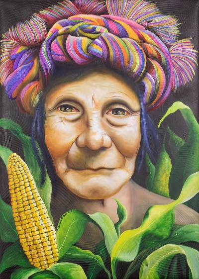 'Portrait of a Woman' (2017) - Signed Realist Portrait Painting of a Guatemalan Woman