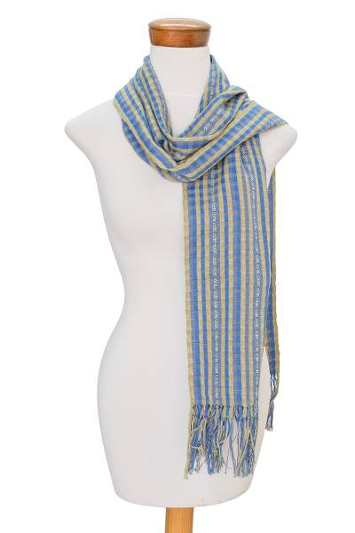 Cotton scarf, 'Cornflower Stripes' - Striped Cotton Scarf in Cornflower and Citron from Guatemala
