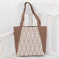 Cotton tote, 'Burnt Sienna Diamonds' - Handwoven Cotton Tote in Burnt Sienna from Guatemala