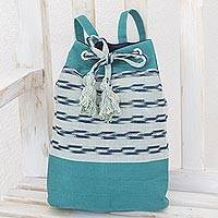 Cotton backpack, 'Sweet Teal' - Handwoven Cotton Backpack in Teal from Guatemala