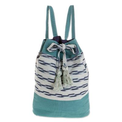 Handwoven Cotton Backpack in Teal from Guatemala