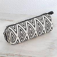 Cotton clutch, 'Diamond Style in Black' - Diamond Motif Cotton Clutch Handbag from Guatemala