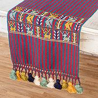 Cotton table runner, 'Quiche Colors' - Striped Cotton Table Runner in Cherry and Azure