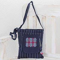 Cotton shoulder bag, 'Navy Geometry' - Cotton Shoulder Bag in Navy and Sky Blue from Guatemala