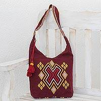Cotton shoulder bag, 'Ixil Bordeaux' - Handwoven Cotton Shoulder Bag in Bordeaux from Guatemala