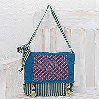 Cotton shoulder bag, 'Ixil Net' - Zigzag Motif Cotton Shoulder Bag from Guatemala