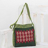 Cotton shoulder bag, 'Cotzal Forest' - Handwoven Diamond Motif Cotton Shoulder Bag from Guatemala